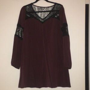 Purple and black lace trapeze dress